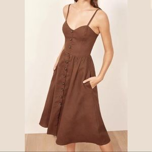 NWT reformation Thelma Midi Dress Sz 0